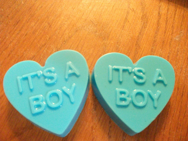 Blue Heart That Say It's A Boy SET of 2 Good For Baby Shower 100% Natural Goat Milk Soap Baby Powder Scented