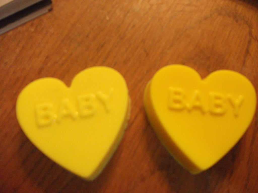Yellow Heart That Say Baby Set of 2  Not Sure Sex of the Baby? 100% Natural Goat Milk Soap Antique Lilac Scented
