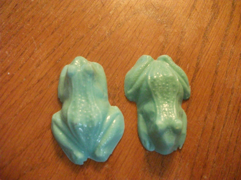 Set of 2 Green Frogs 100% Natural Goat Milk Soap Mahogany Scented
