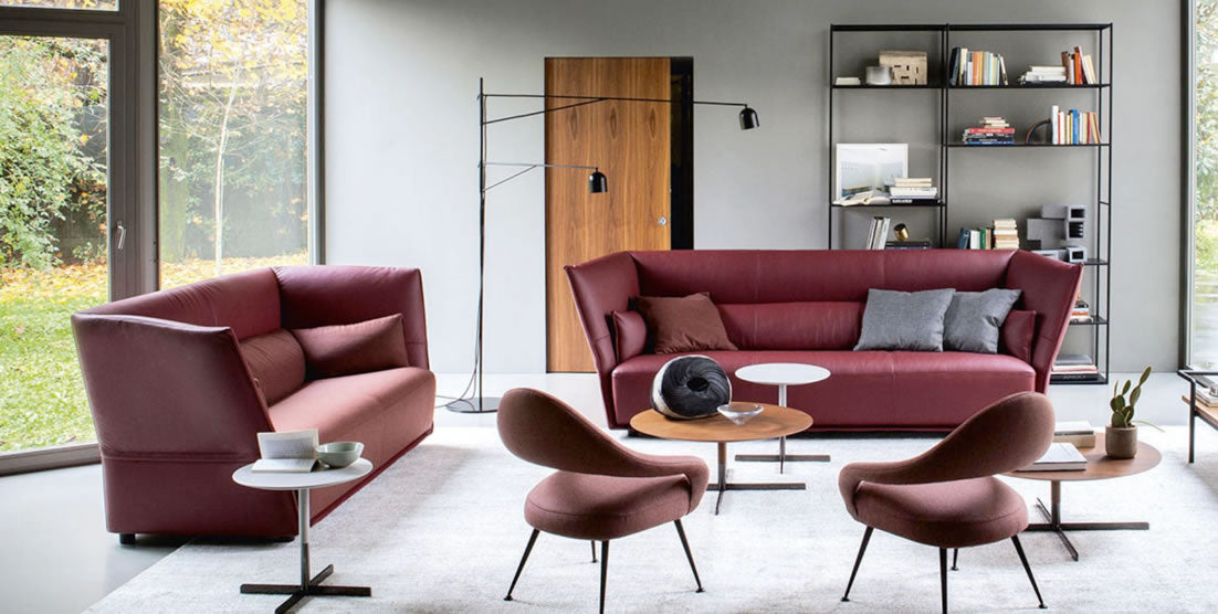 Two seat sofa interlude by marco zanuso for poltrona frau in