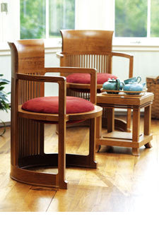 Frank Lloyd Wright Barrel Chair  by Cassina, available at the Home Resource furniture store Sarasota Florida