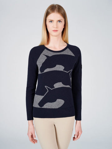 Two Bits Equestrian Bamboo Crewneck Sweater- Matte Gray