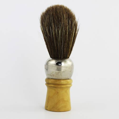Metal & Wood Horse Hair Shave Brush