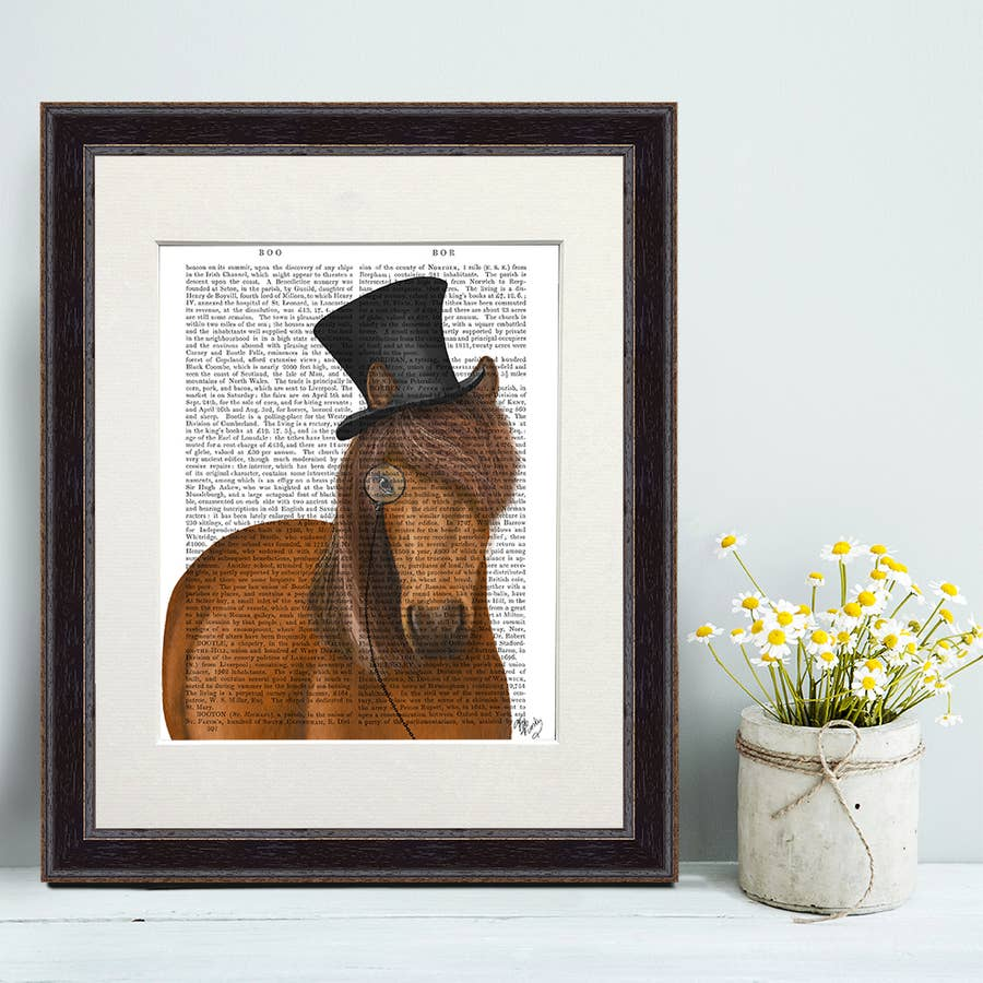 Horse Top Hat and Monocle - Real Antique Book Page Matted Print