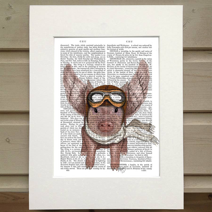 Aviator Piggy - Real Antique Book Page Matted Print
