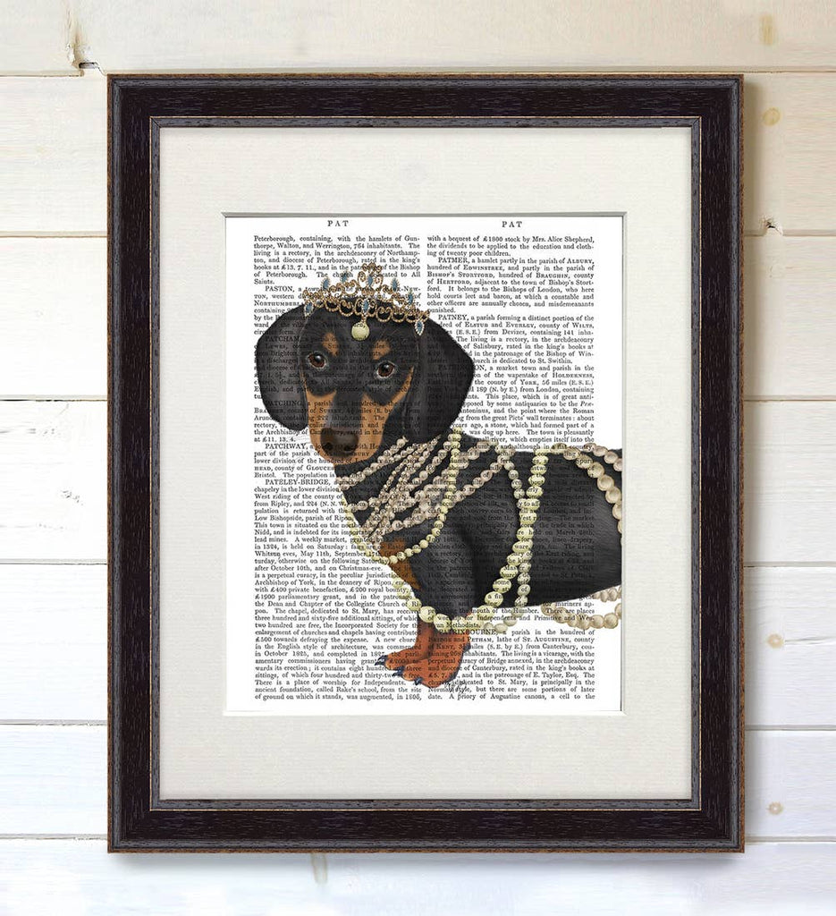 Dachshund Duchess - Real Antique Book Page Matted Print