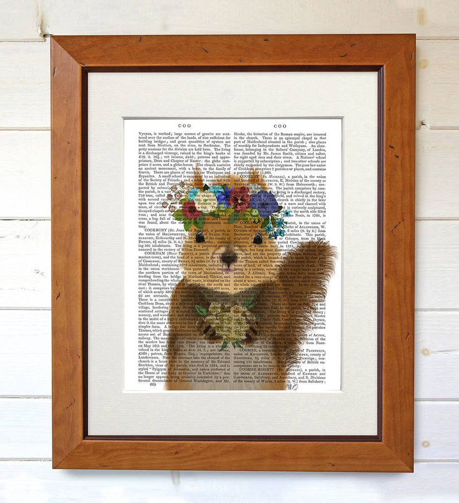 Bohemian Squirrel - Real Antique Book Page Matted Print