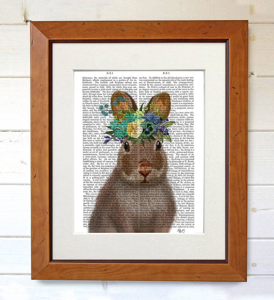 Bohemian Rabbit - Real Antique Book Page Matted Print