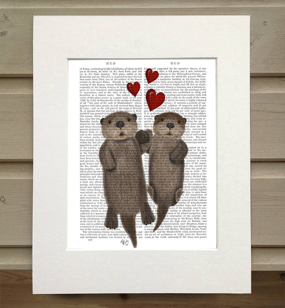 Otters Love - Real Antique Book Page Matted Print