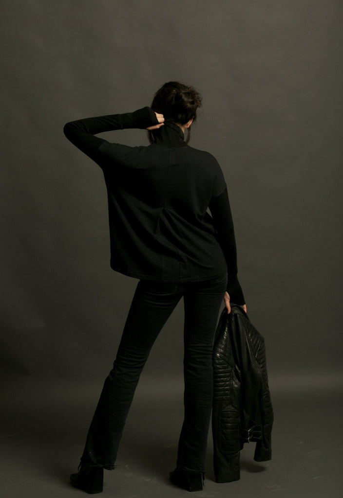 Two Bits Equestrian Bamboo Turtleneck - Black