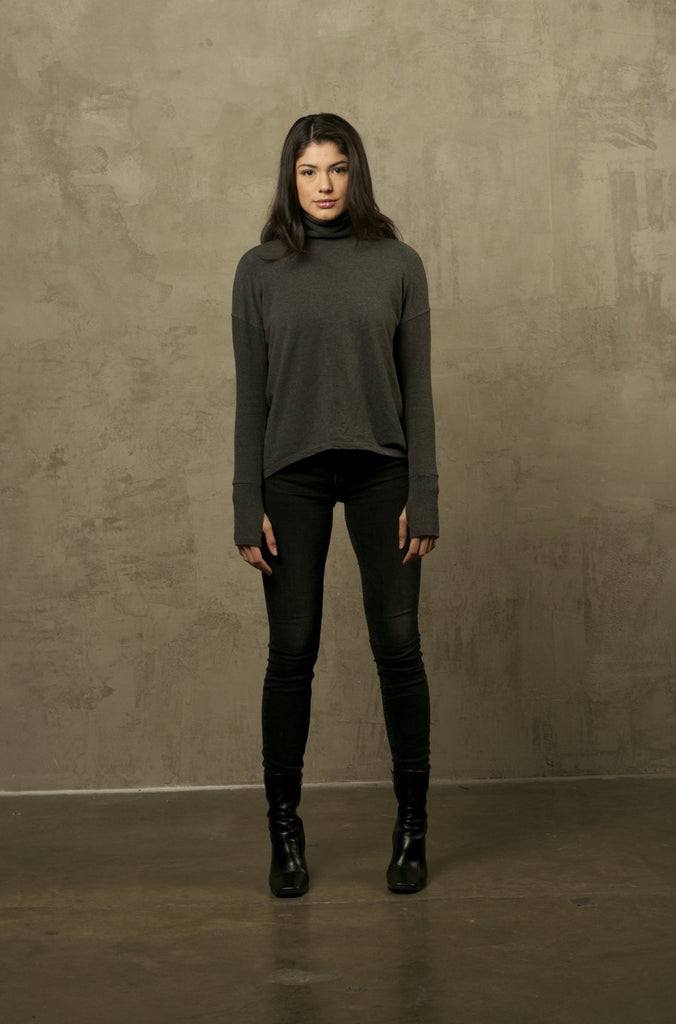 Two Bits Equestrian Bamboo Turtleneck - Charcoal