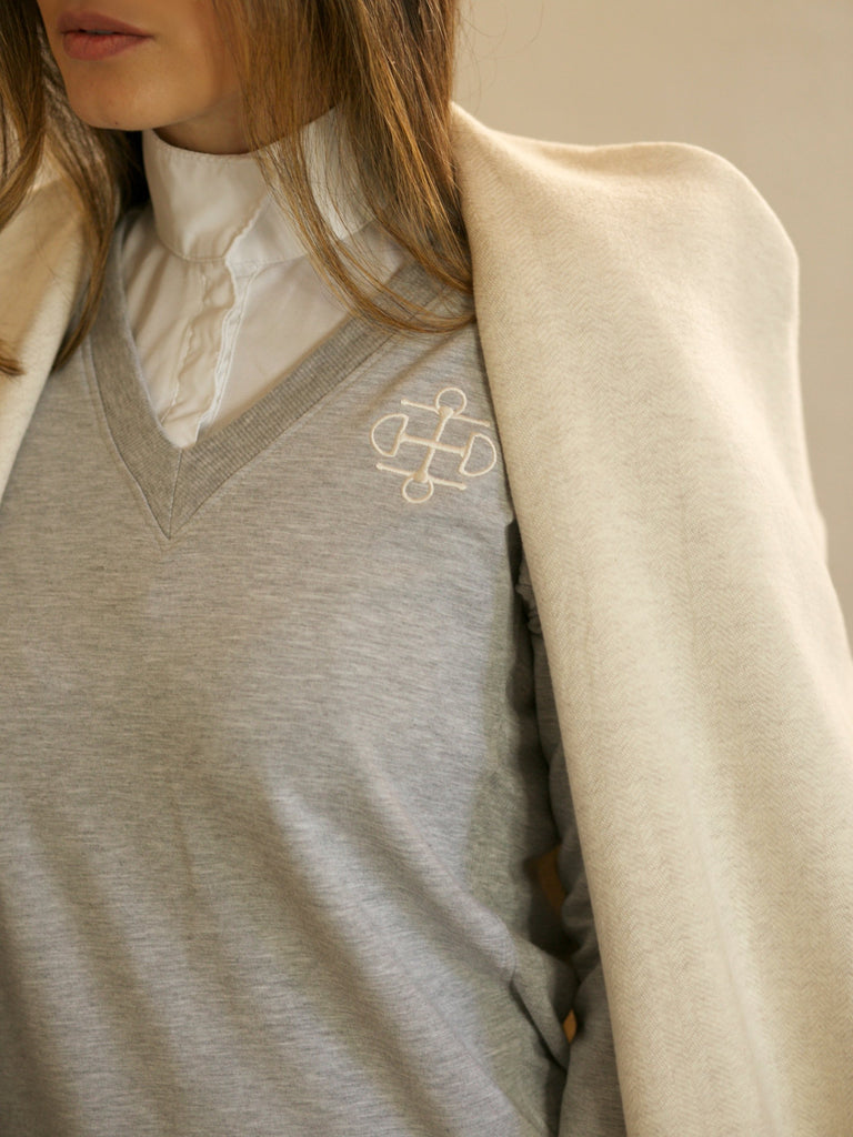 Two Bits Equestrian Bamboo V-Neck - Front Logo - Gray