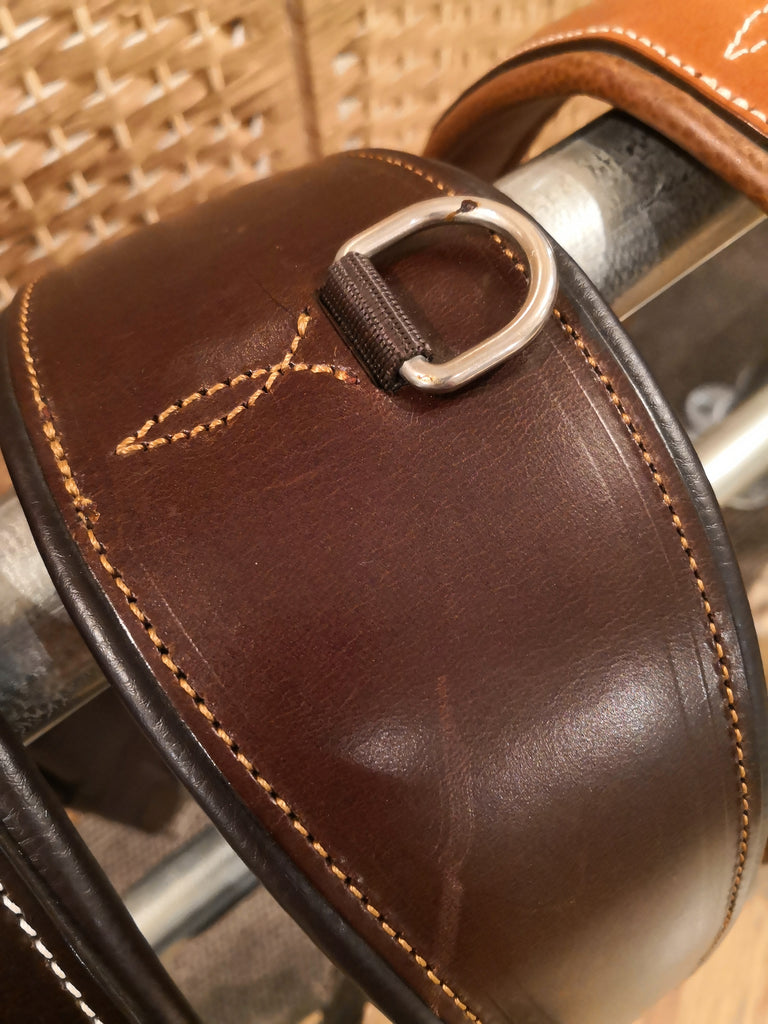 Pariani Italian Classic Girth - Dark Havanna/Natural Stitching