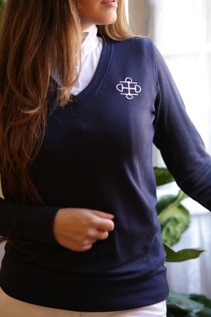 Two Bits Equestrian Bamboo V-Neck - Front Logo - Navy