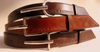 Silver Crown Mens Leather Belt - Squared Buckle - Flat