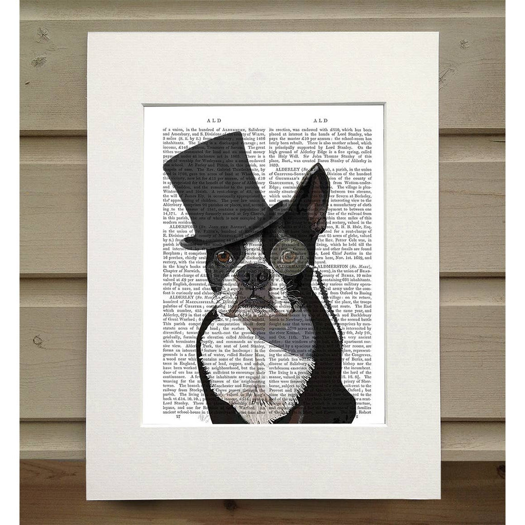 Boston Terrier - Real Antique Book Page Matted Print