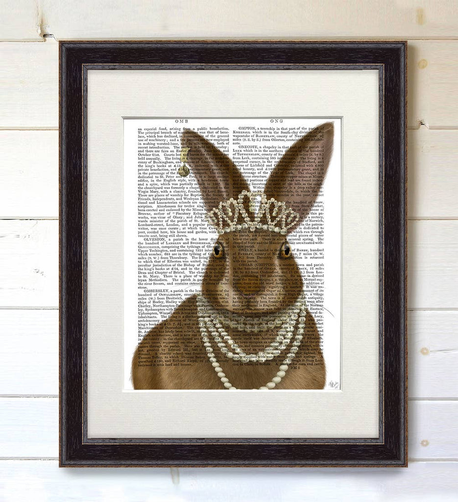 Rabbit Royale - Real Antique Book Page Matted Print