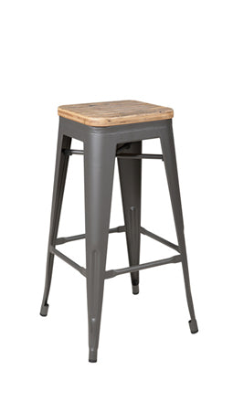 Bar Stool W/ Wooden Seat
