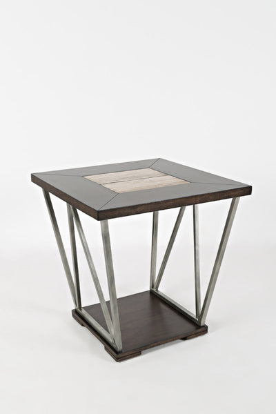 Modern Wood and Ceramic End Table
