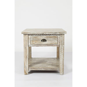 Washed Grey End Table