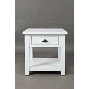 Weathered White End Table