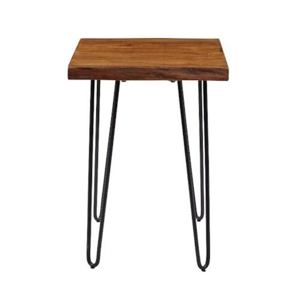 Acacia Wood Chair Side Table with Hairpin Legs