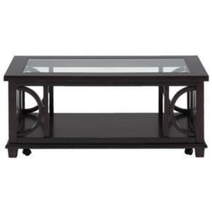 Brown Coffee Table with Beveled Glass Top