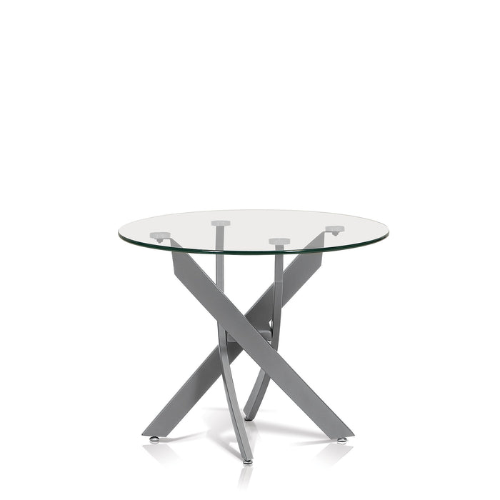 Katie Round Glass Top End Table