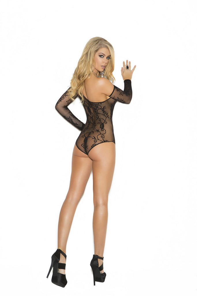 Floral Fishnet One Shoulder Teddy Set With Gloves