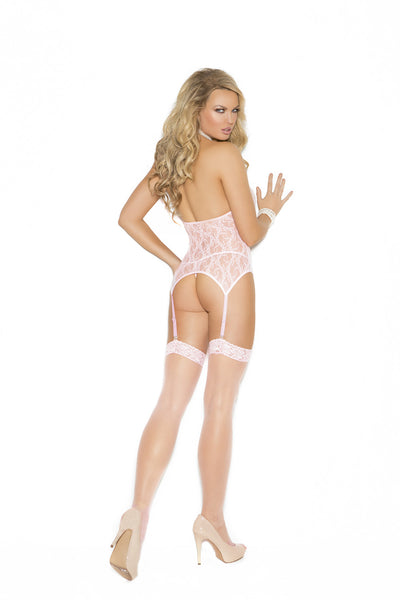 Lace Camisette Set With G-string And Stockings