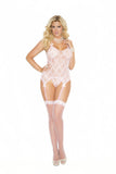 HotSpotLingerie.com Three piece set. Plus size lace camisette, g-string and stockings.