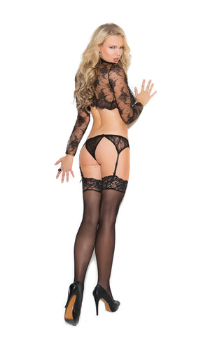 Lace Garter Belt Set With Thong