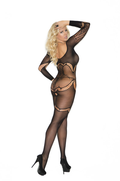 Plus Size Long Sleeve Crochet Bodystocking