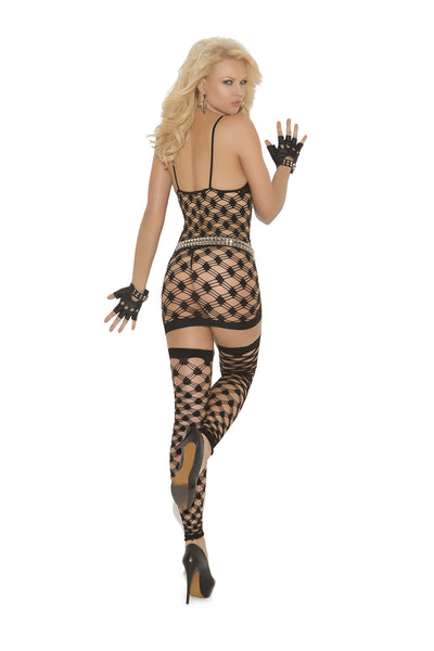 Diamond Net Halter Mini Dress Set With G-string And Footless Thigh Highs