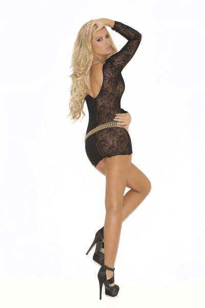 Deep V Lace And Opaque Long Sleeve Mini Dress