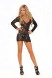 HotSpotLingerie.com Deep V lace and opaque long sleeve mini dress.