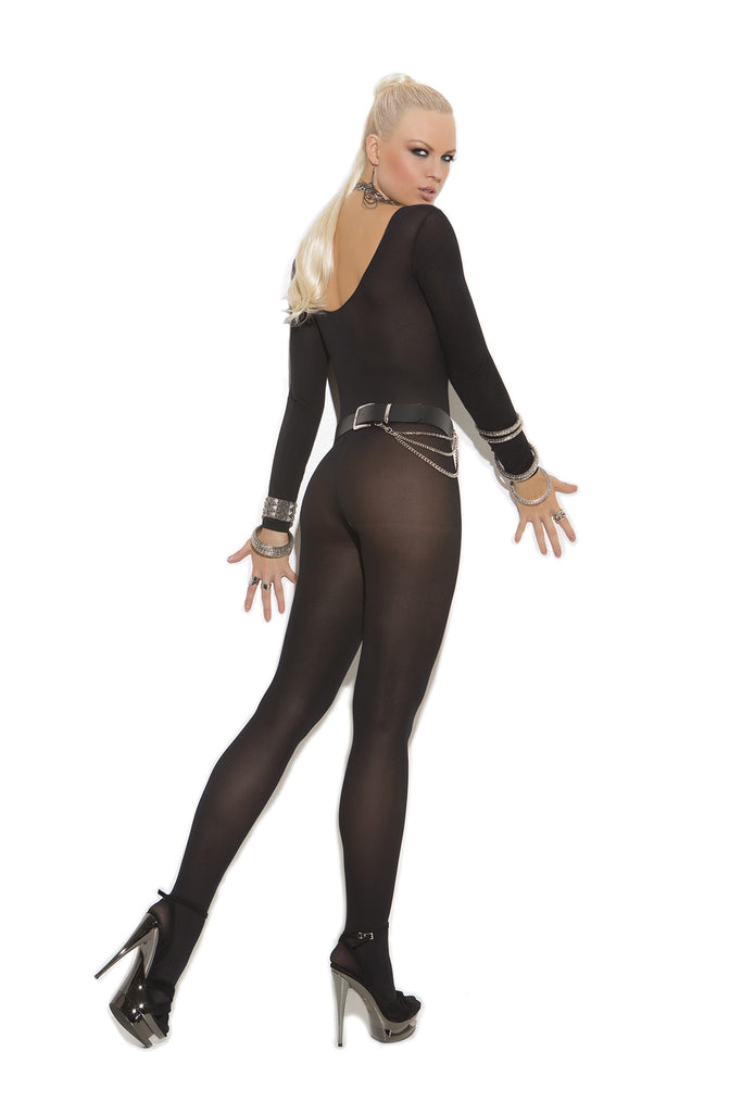 Plus Size Opaque Long Sleeve Bodystocking