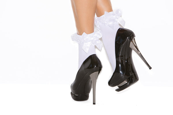 HotSpotLingerie.com Nylon anklet with ruffle and satin bow.