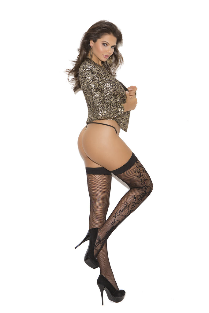 Fishnet Scroll Thigh High