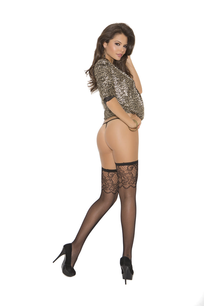 Fishnet Thigh High With Scroll Design