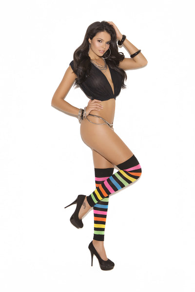 HotSpotLingerie.com Striped neon leg warmers.