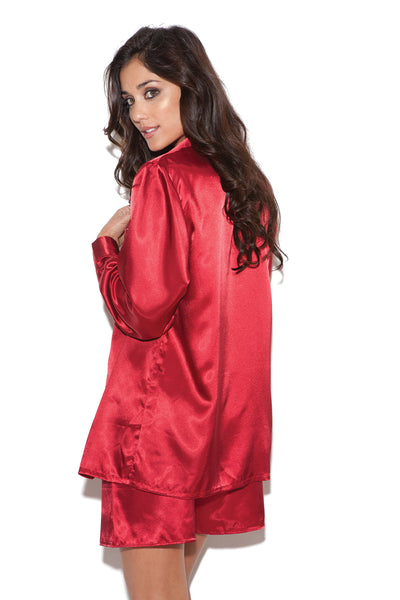 Plus Size Charmeuse Satin Long Sleeve Sleep Shirt