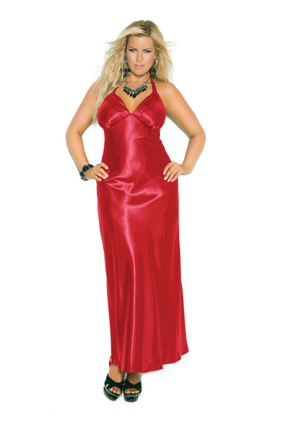 HotSpotLingerie.com Plus Size Charmeuse Satin Halter Neck Gown