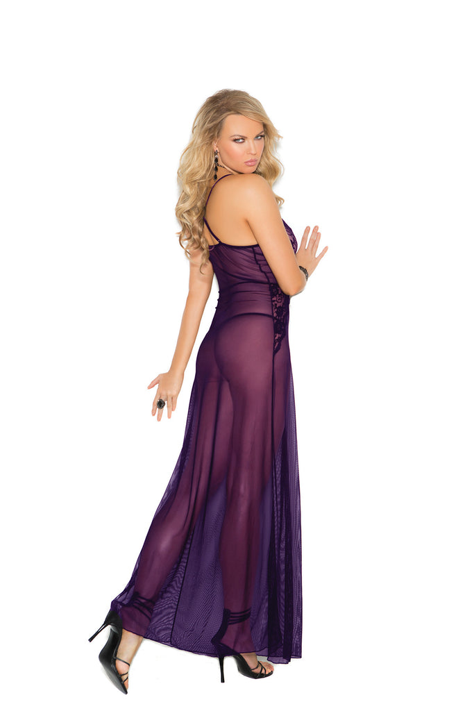 Deep V Mesh Gown Set With G-string