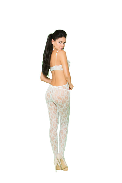 Mint Green Lace Bodystocking With  An Open Crotch