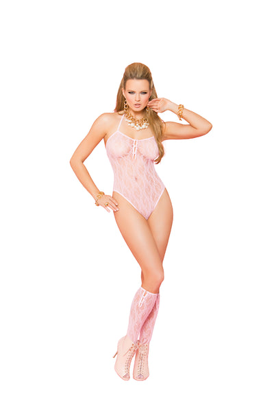 Baby Pink Lace Thong Back Teddy And Matching Knee High's