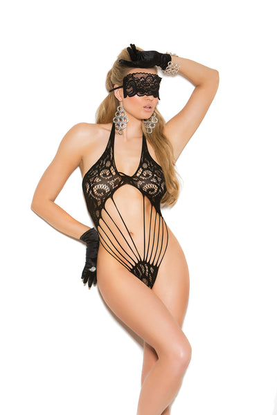 Black Lace Thong Back Teddy With Eye Mask