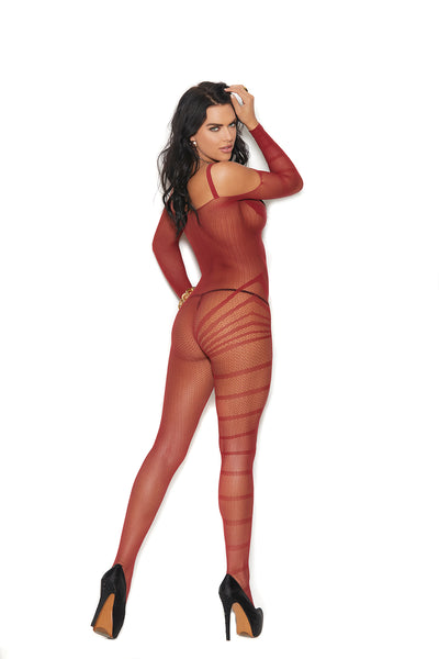 Burgundy Crochet and Burnout Long Sleeve Bodystocking