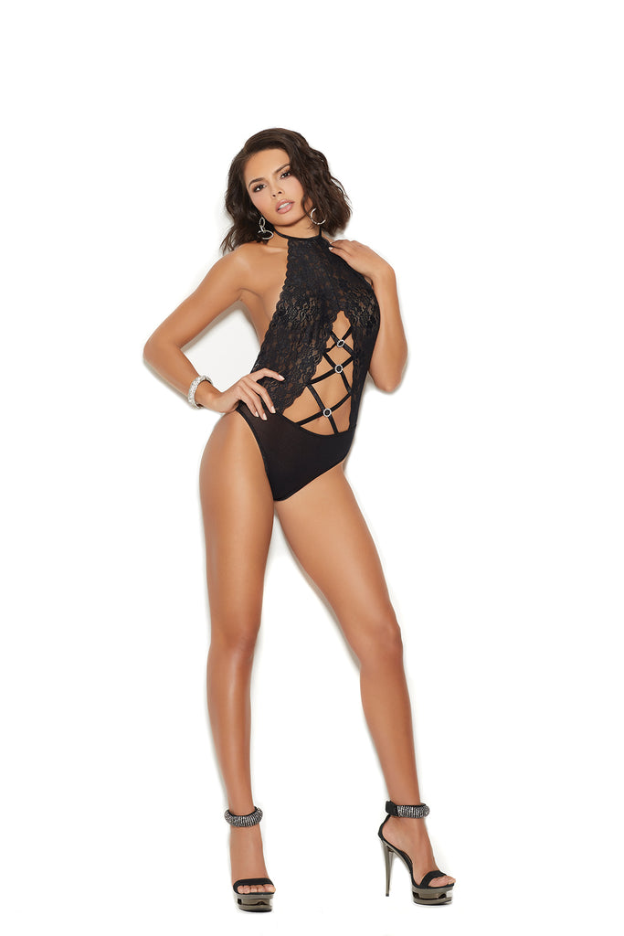 Black Lace and Opaque Teddy With Crisscross Detailing