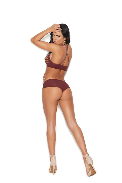 Opaque Burgundy Bralette and Matching Booty Shorts Set